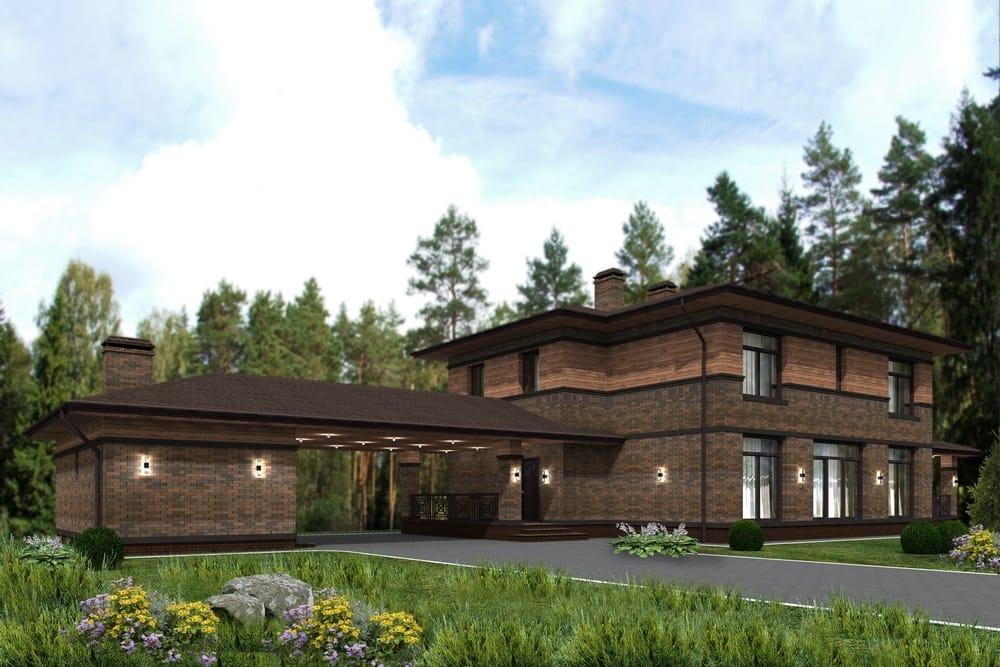 Проект дизайн фасада в стиле Райта - Арт-Терем